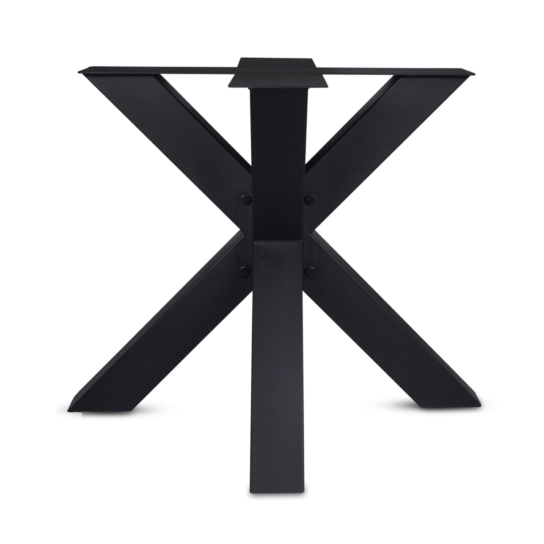 Stalen onderstel Dubbele X (3D) - 3-DELIG met schroefbevestiging - 10x10x0,3cm - 90x90 cm - 72 cm hoog - 3D dubbele kruispoot GEPOEDERCOAT zwart - antraciet - wit