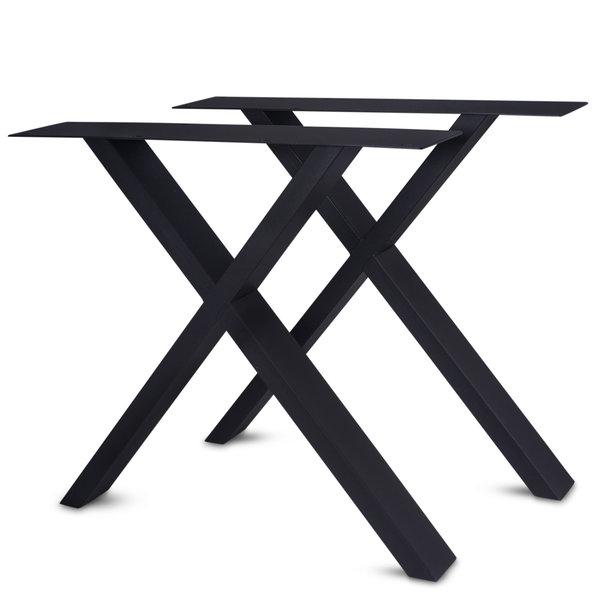 Stalen X-tafelpoten ELEGANT (SET) 4x10cm - 77-78 cm breed - 72 cm hoog - GECOAT