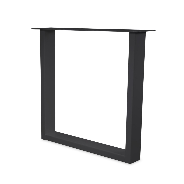 Stalen U-tafelpoten ELEGANT (SET) 4x10 cm - 70-78 cm breed - 72 cm hoog - U-poot GEPOEDERCOAT zwart - antraciet - wit