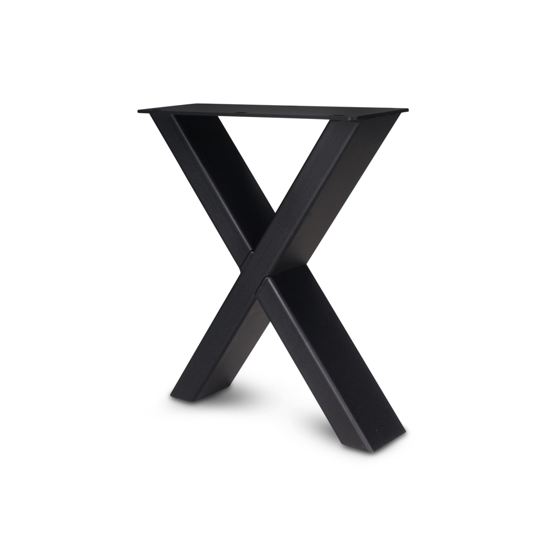 Stalen X-bankpoten (SET) 8x4 cm - 36 cm breed - 42 cm hoog - Kruispoot bankje GEPOEDERCOAT zwart - antraciet - wit