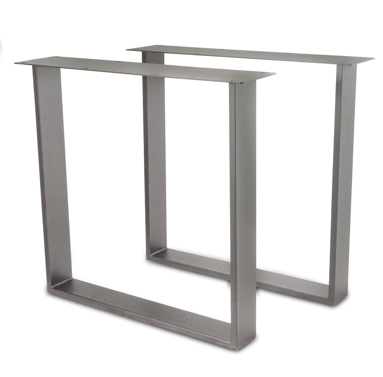RVS U-tafelpoten SLANK (SET) 2x10x0,3cm - 78 cm breed - 72 cm hoog - U-poot - Geborsteld INOX 304