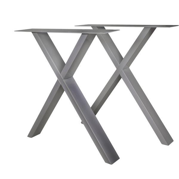 RVS X-tafelpoten SLANK (SET) 2x10cm - 78 cm breed - 72 cm hoog