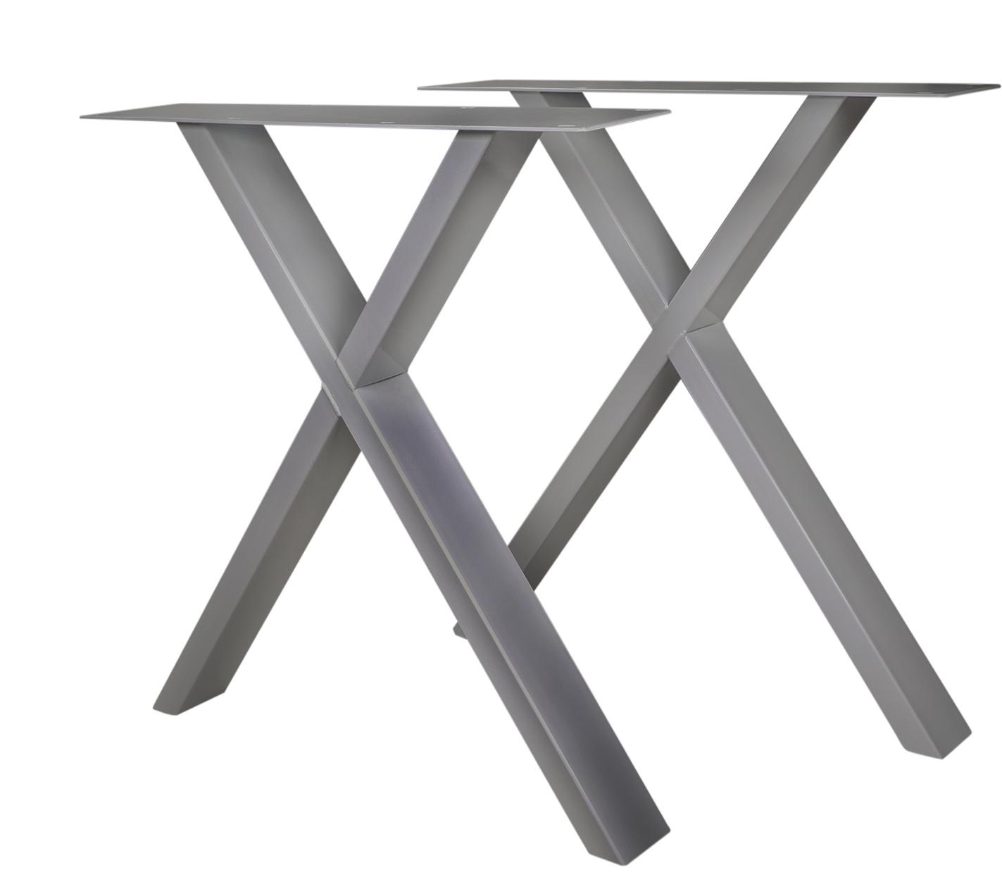 RVS X-tafelpoten SLANK (SET) 2x10x0,3cm - 78 cm breed - 72 cm hoog - X-poot - Geborsteld INOX 304
