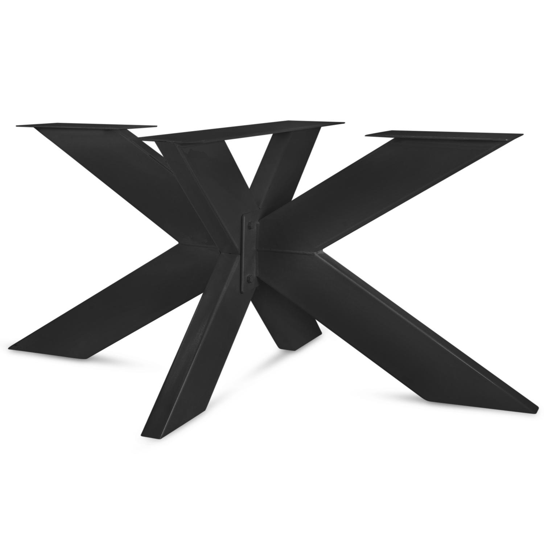 Stalen onderstel Matrix ELEGANT (3D) - 3-DELIG met schroefbevestiging - 5x15x0,3cm - 180x90 cm - 72 cm hoog - Spinpoot / 3D kruispoot GEPOEDERCOAT zwart - antraciet - wit