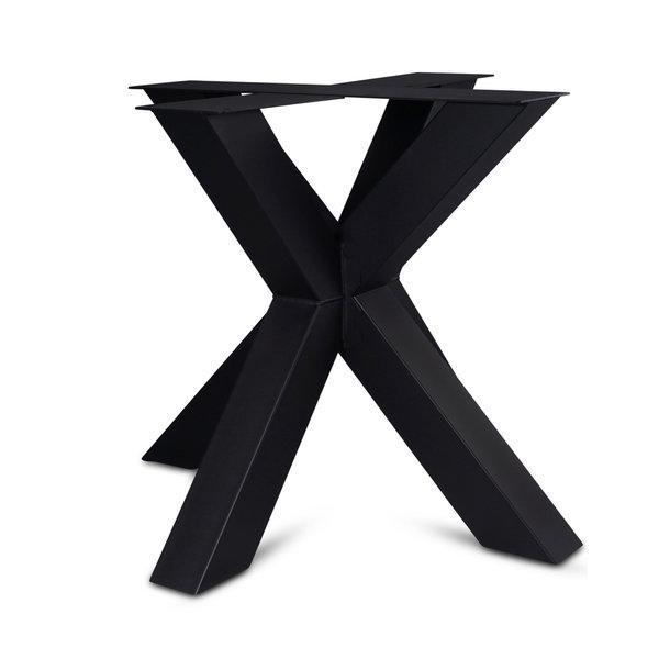 Stalen onderstel Dubbele X (3D) - 10x10cm - 90x90 cm - 72 cm hoog - GECOAT