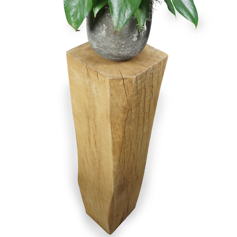 Eiken sokkel / zuil 300x300  mm - Ruw / Fijnbezaagd met lange kanten (af)geschaafd & gerookt - Europees eikenhout ad 20-25% - Copy