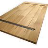 Eiken tafelblad op maat - 4 cm dik (1-laag) - rustiek Europees eikenhout GEBORSTELD & GEROOKT - verlijmd kd 8-12% - 50-120x50-350 cm