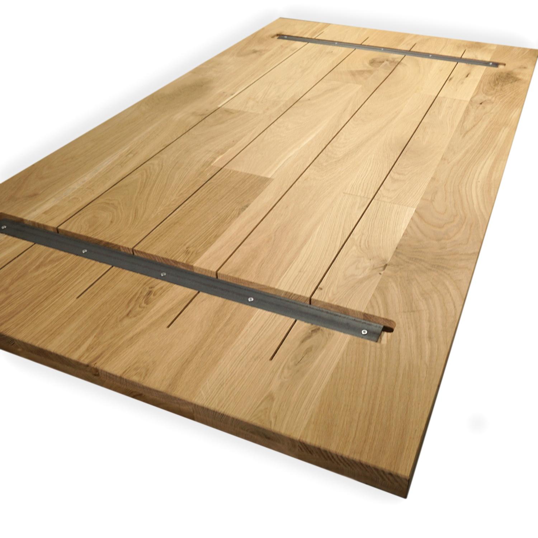 Eiken tafelblad op maat - 4 cm dik (2-laags) - rustiek Europees eikenhout GEBORSTELD & GEROOKT - verlijmd kd 8-12% - 50-120x50-300 cm