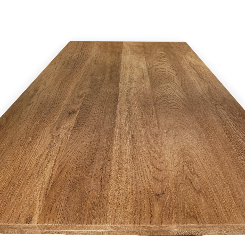 Eiken tafelblad op maat - 4 cm dik (2-laags) - foutvrij Europees eikenhout GEBORSTELD & GEROOKT - verlijmd kd 8-12% - 50-120x50-350 cm