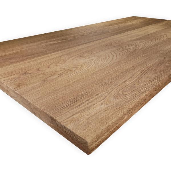Eiken tafelblad op maat - 4 cm dik (2-laags) - foutvrij eikenhout - GEBORSTELD & GEROOKT
