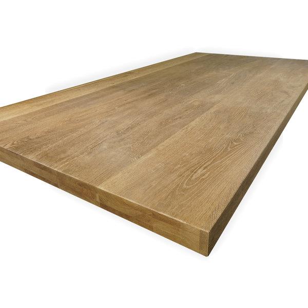 Eiken tafelblad op maat - 6 cm dik (3-laags) - rustiek eikenhout - GEBORSTELD & GEROOKT