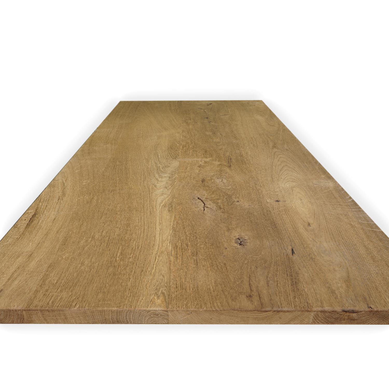 Eiken tafelblad op maat - 2 cm dik (1-laag) - rustiek Europees eikenhout GEBORSTELD & GEROOKT - verlijmd kd 8-12% - 50-120x50-350 cm