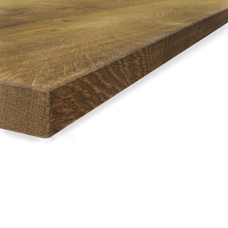 Eiken tafelblad op maat - 4 cm dik (1-laag) - rustiek Europees eikenhout GEBORSTELD & GEROOKT - verlijmd kd 8-12% - 50-120x50-300 cm