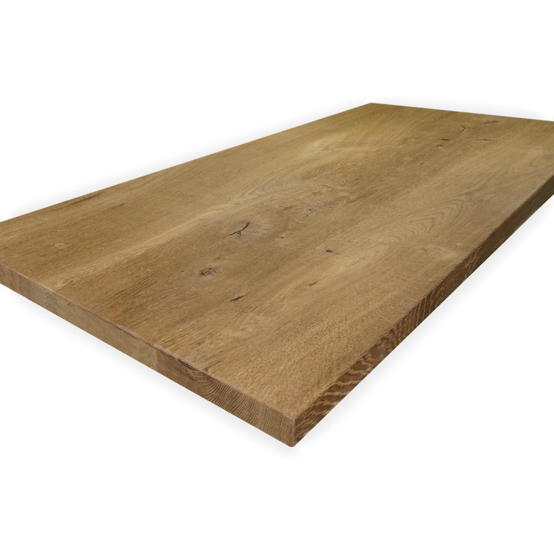 Eiken tafelblad op maat - 3 cm dik (1-laag) - rustiek Europees eikenhout GEBORSTELD & GEROOKT - verlijmd kd 8-12% - 50-120x50-350 cm