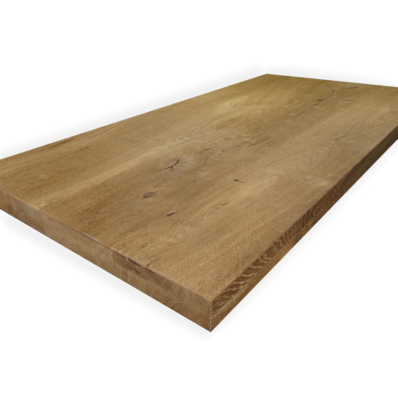 Eiken tafelblad op maat - 4 cm dik (2-laags) - rustiek Europees eikenhout GEBORSTELD & GEROOKT - verlijmd kd 8-12% - 50-120x50-350 cm