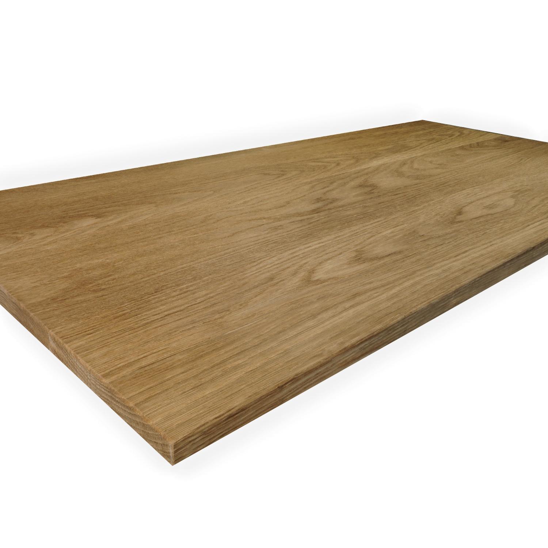 Eiken tafelblad op maat - 3 cm dik (1-laag) - foutvrij Europees eikenhout GEBORSTELD & GEROOKT - verlijmd kd 8-12% - 50-120x50-350 cm