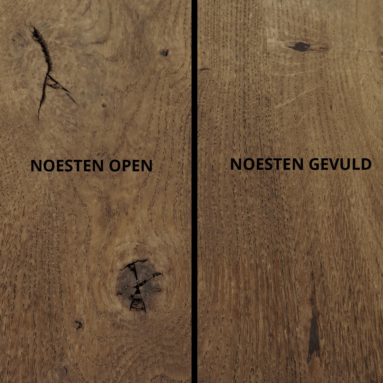 Rond eiken tafelblad op maat - 6 cm dik (3-laags) - rustiek Europees eikenhout - GEBORSTELD & GEROOKT - verlijmd kd 8-12% - diameter van 35 tot 130 cm