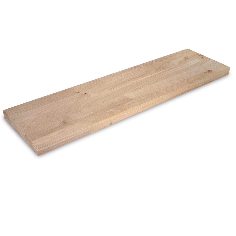 Eiken wandplank zwevend - op maat - 4 cm dik (2-laags) - rustiek - voorgeboord inclusief (blinde) bevestigingsbeugels - verlijmd Europees eikenhout rustiek - kd 8-12% - 15-27x50-300 cm