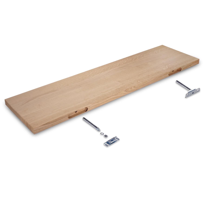 Eiken wandplank zwevend - op maat - 3 cm dik (1-laag) - foutvrij - voorgeboord inclusief (blinde) bevestigingsbeugels - verlijmd Europees eikenhout foutvrij - kd 8-12% - 15-27x50-300 cm