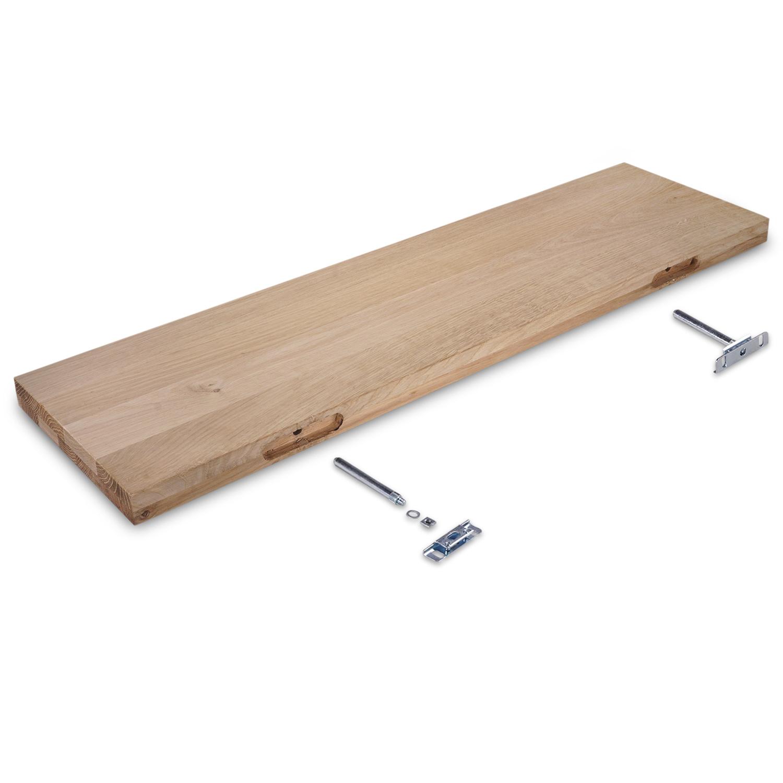 Eiken wandplank zwevend - op maat - 4 cm dik (2-laags) - foutvrij - voorgeboord inclusief (blinde) bevestigingsbeugels - verlijmd Europees eikenhout foutvrij - kd 8-12% - 15-27x50-300 cm