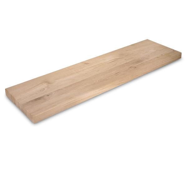 Eiken wandplank zwevend - op maat - 4 cm dik (1-laag) - rustiek eikenhout - GEBORSTELD
