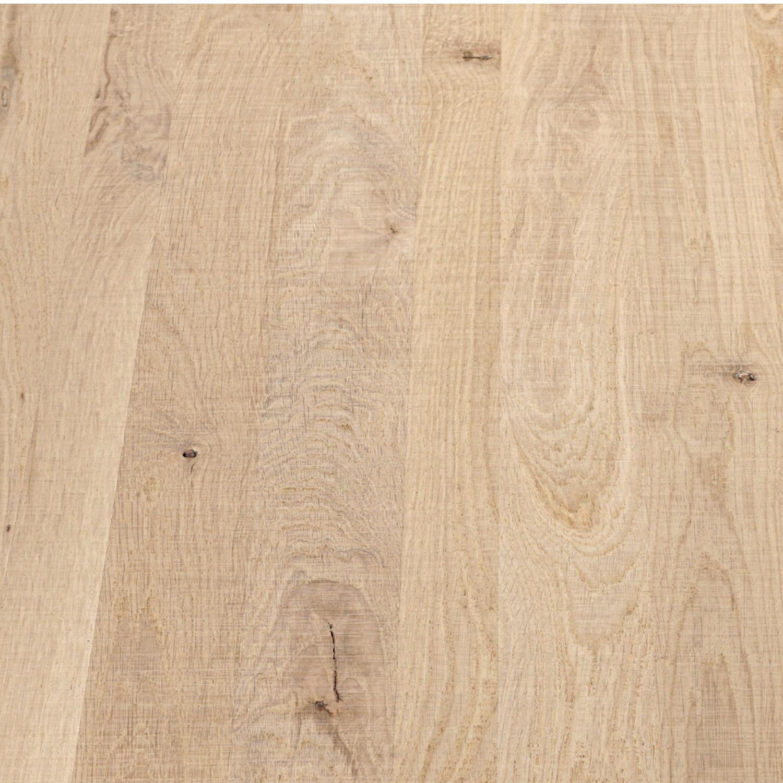 Eiken blad / paneel op maat - 4 cm dik (2-laags) - rustiek Europees eikenhout  - Fijnbezaagd (ruw) - verlijmd kd 8-12% - 15-120x20-350 cm