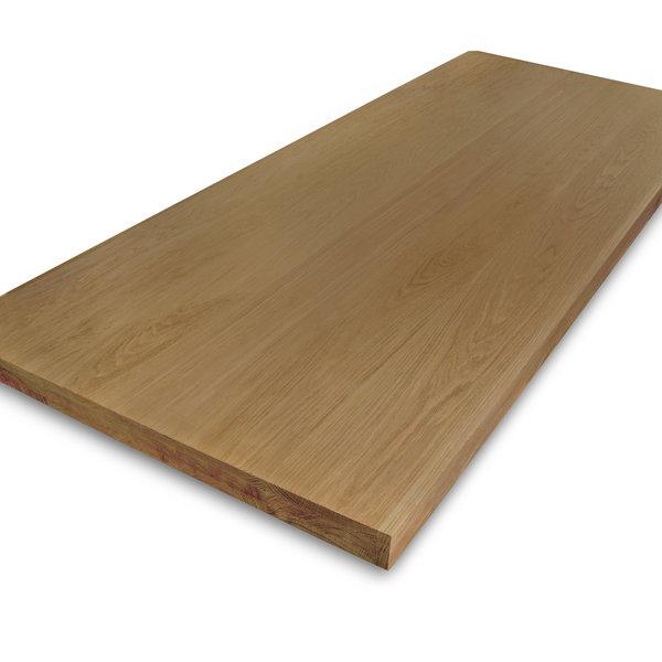 Eiken tafelblad op maat - 6 cm dik (3-laags) - foutvrij eikenhout - GEBORSTELD & GEROOKT
