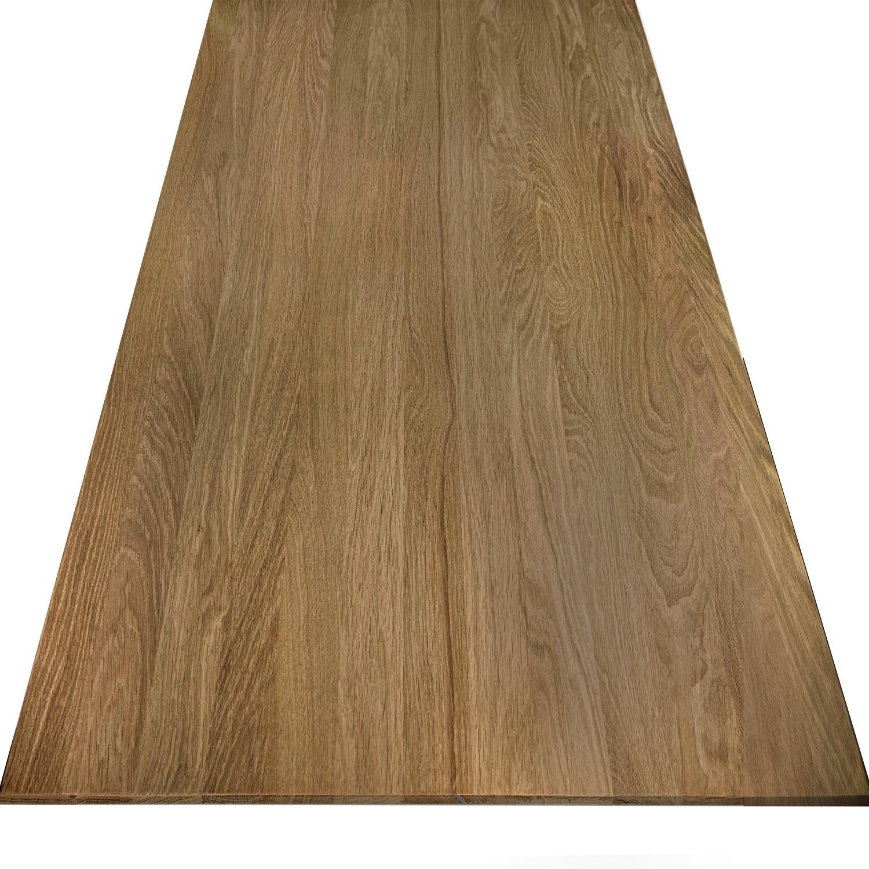 Eiken  tafelblad verjongd - op maat - 4 cm dik (2-laags) - met verjongde rand - foutvrij Europees eikenhout - verlijmd kd 8-12% - 50-120x50-350 cm - GEBORSTELD & GEROOKT