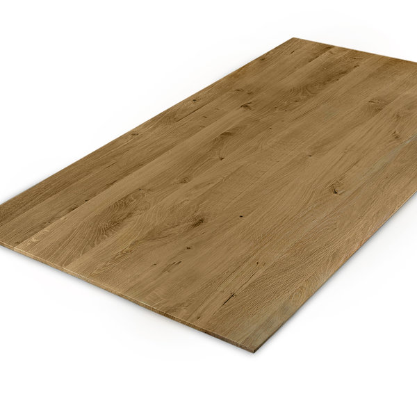 Eiken tafelblad verjongd - op maat - 3 cm dik (1-laag) - rustiek eikenhout - GEBORSTELD & GEROOKT
