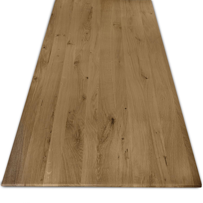 Eiken tafelblad rustiek verjongd - op maat - 3 cm dik (1-laag) - met verjongde rand - rustiek Europees eikenhout - verlijmd kd 8-12% - 50-120x50-350 cm - GEBORSTELD & GEROOKT