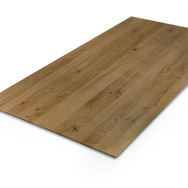 Eiken tafelblad verjongd - op maat - 4 cm dik (2-laags) - rustiek eikenhout - GEBORSTELD & GEROOKT