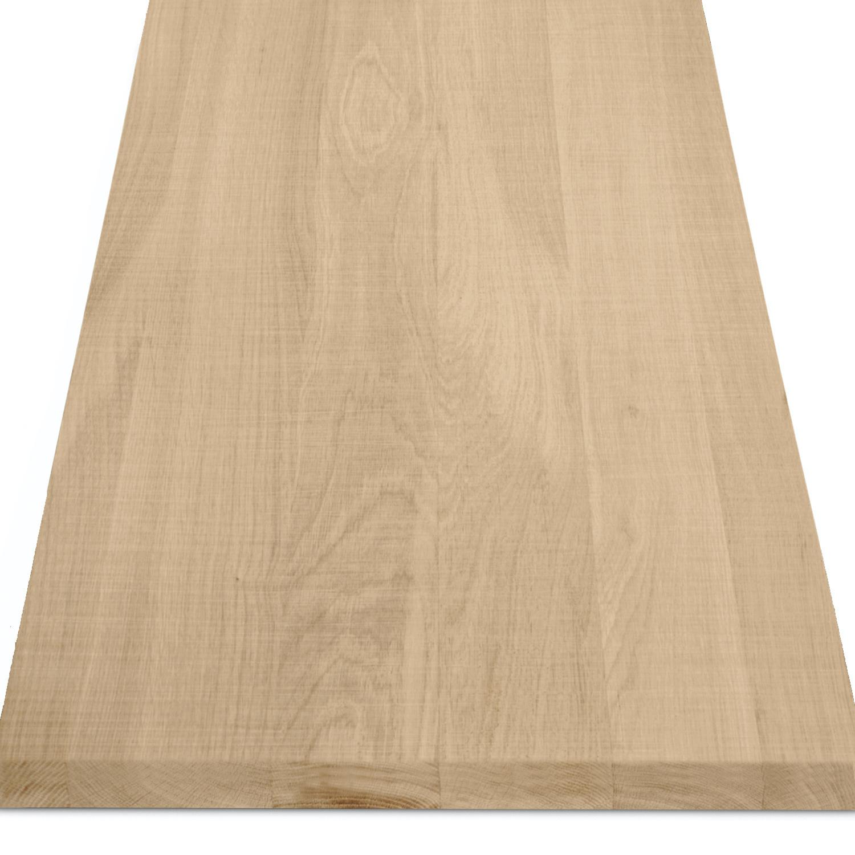 Eiken blad / paneel op maat - 4 cm dik (1-laag) - Foutvrij eikenhout - Fijnbezaagd (ruw) - verlijmd kd 8-12% - 15-120x20-350 cm