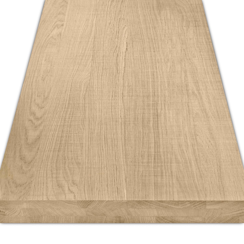 Eiken blad / paneel op maat - 6 cm dik (3-laags) - Foutvrij eikenhout - Fijnbezaagd (ruw) - verlijmd kd 8-12% - 15-120x20-350 cm
