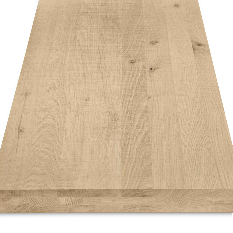 Eiken blad / paneel op maat - 6 cm dik (3-laags) - rustiek Europees eikenhout  - Fijnbezaagd (ruw) - verlijmd kd 8-12% - 15-120x20-350 cm