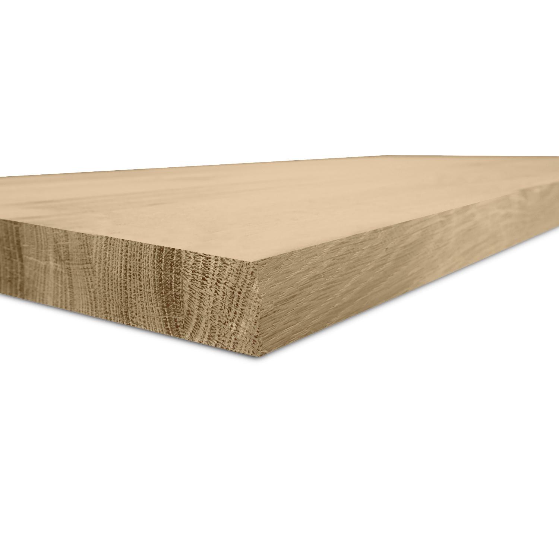 Eiken blad / meubelblad op maat - 3 cm dik (1-laag) - rustiek eikenhout - Fijnbezaagd (ruw) - verlijmd kd 8-12% - 15-120x20-350 cm