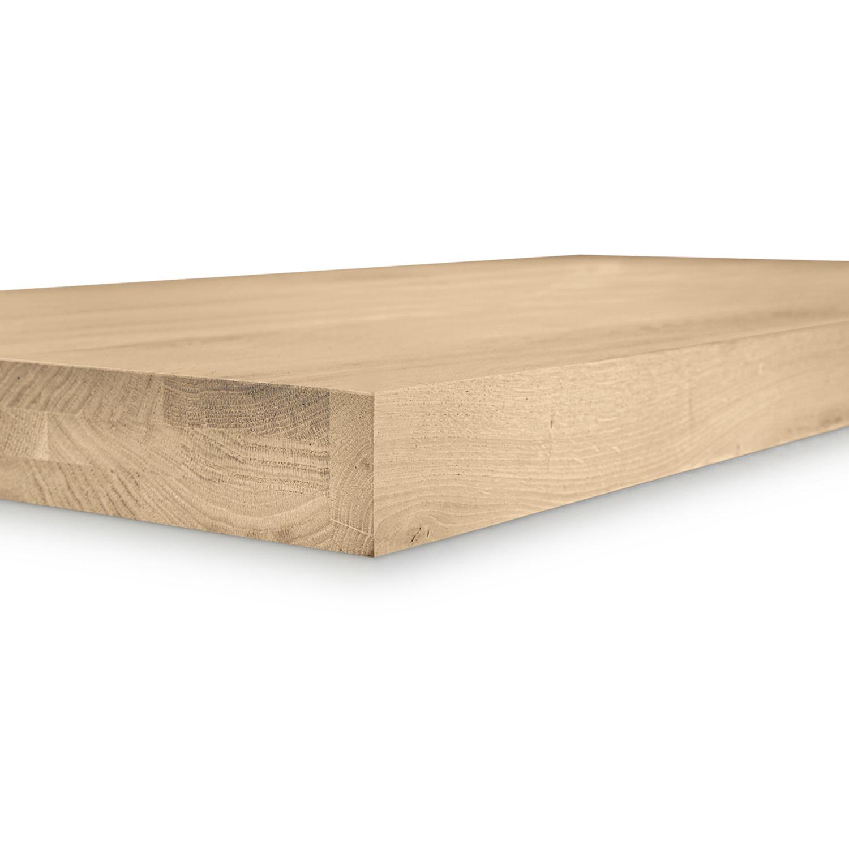 Eiken blad / paneel op maat - 6 cm dik (3-laags) - rustiek Europees eikenhout - gezandstraald - verlijmd kd 8-12% - 15-120x20-350 cm