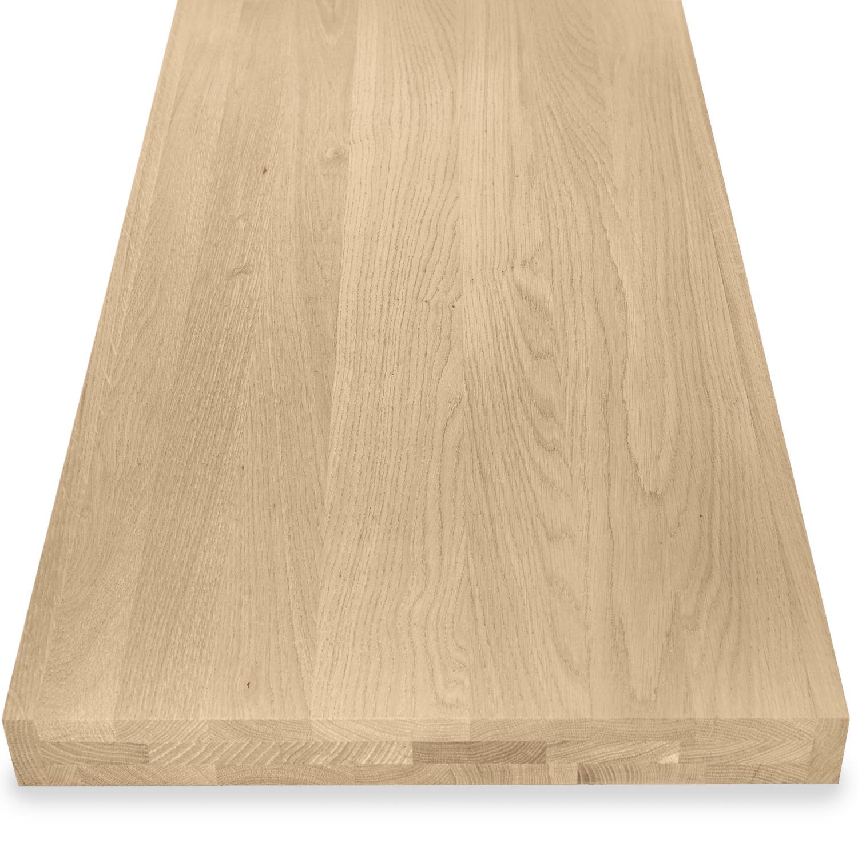 Eiken blad / paneel op maat - 6 cm dik (3-laags) - Foutvrij eikenhout - Gezandstraald - verlijmd kd 8-12% - 15-120x20-350 cm