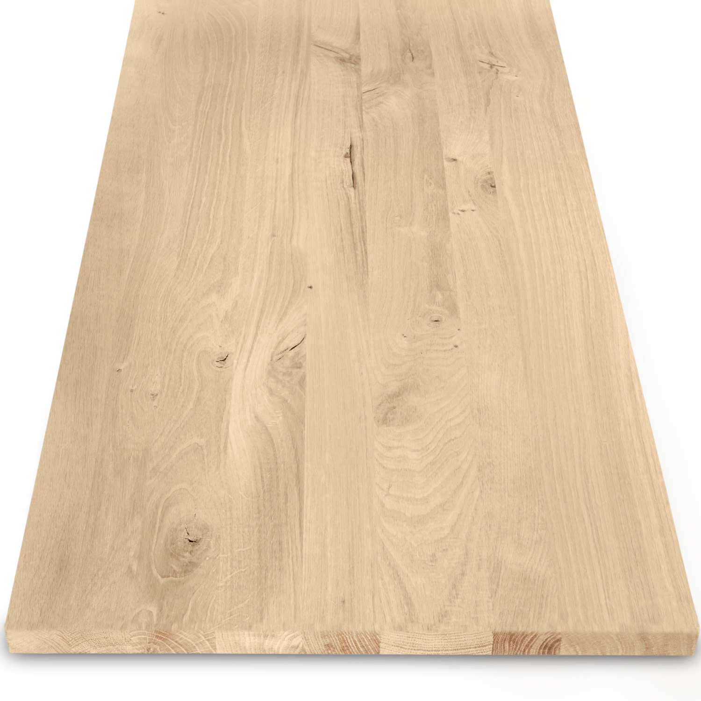 Eiken blad / paneel op maat - 2 cm dik (1-laag) - rustiek Europees eikenhout - verlijmd kd 8-12% - 15-120x20-300 cm