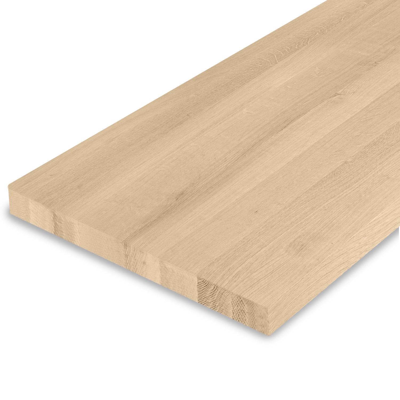 Eiken blad / paneel op maat - 4 cm dik (1-laag) - Foutvrij Europees eikenhout - GEBORSTELD - verlijmd kd 8-12% - 15-120x20-350 cm