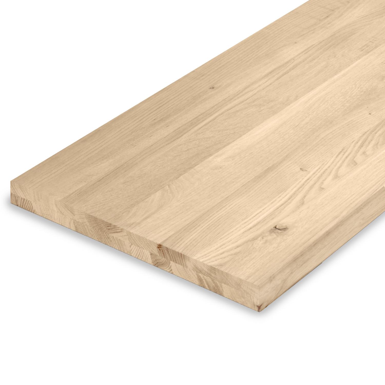 Eiken blad / paneel op maat - 4 cm dik (2-laags) - rustiek Europees eikenhout GEBORSTELD - verlijmd kd 8-12% - 15-120x20-350 cm