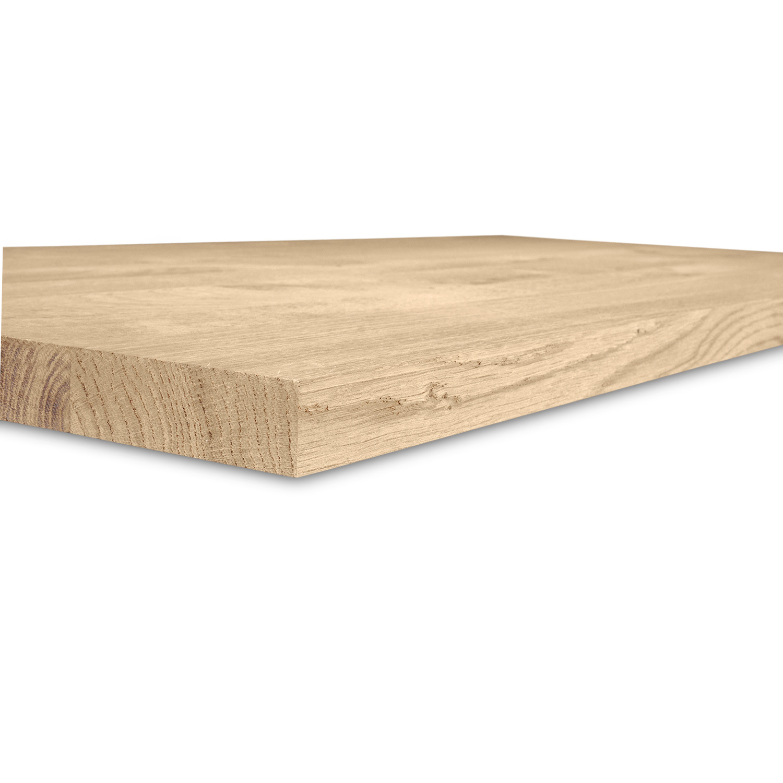 Eiken blad / meubelblad op maat - 4 cm dik (1-laag) - rustiek Europees eikenhout - verlijmd kd 8-12% - 15-120x20-350 cm