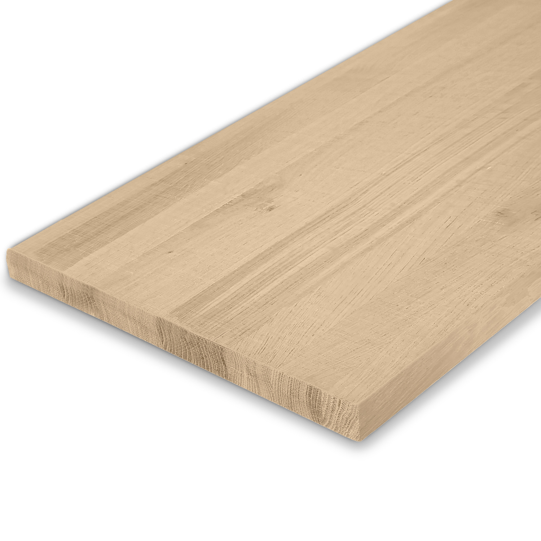 Eiken blad / meubelblad op maat - 4 cm dik (1-laag) - rustiek eikenhout - Fijnbezaagd (ruw) - verlijmd kd 8-12% - 15-120x20-350 cm