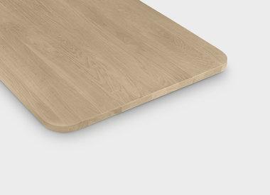 Eiken tafelblad met ronde hoeken