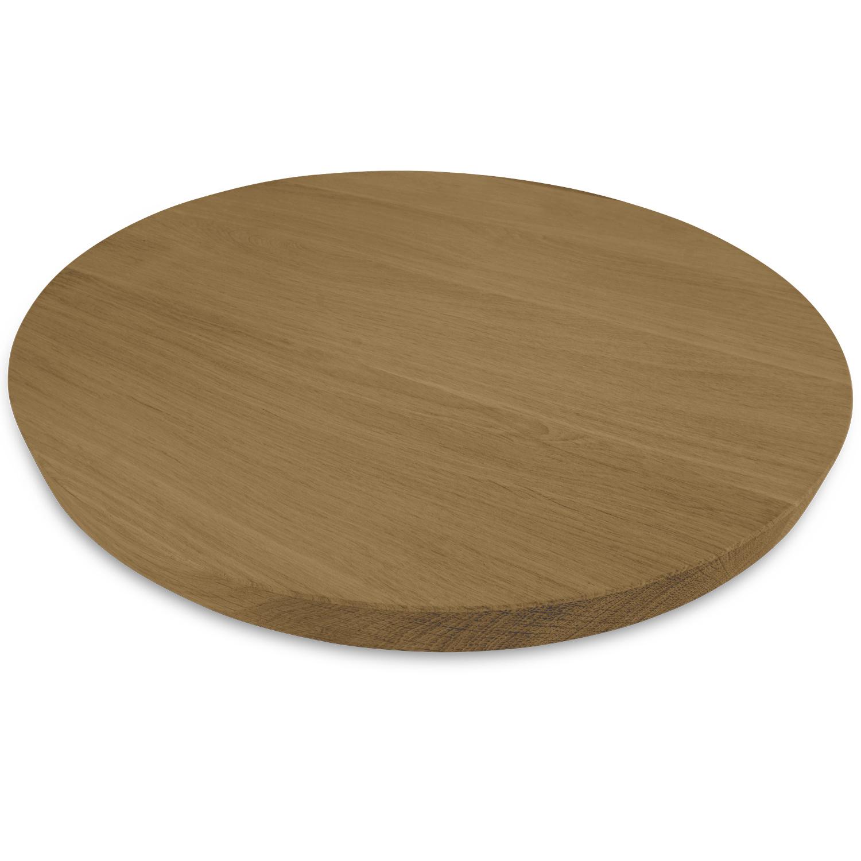 Rond eiken tafelblad op maat - 3 cm dik (1-laag) - Foutvrij Europees eikenhout - GEBORSTELD & GEROOKT - verlijmd kd 8-12% - diameter van 35 tot 130 cm