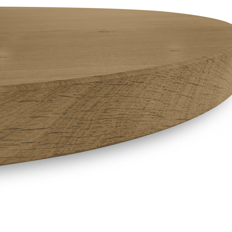 Rond eiken tafelblad op maat - 2 cm dik (1-laag) - rustiek Europees eikenhout - GEBORSTELD & GEROOKT - verlijmd kd 8-12% - diameter van 35 tot 130 cm