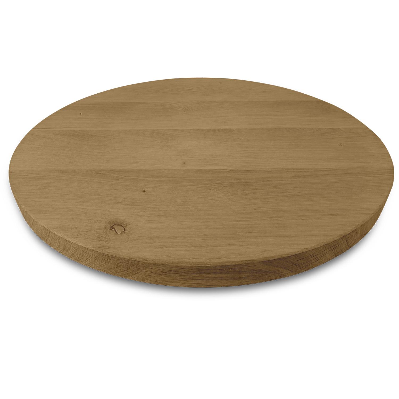 Rond eiken tafelblad op maat - 3 cm dik (1-laag) - rustiek Europees eikenhout - GEBORSTELD & GEROOKT - verlijmd kd 8-12% - diameter van 35 tot 130 cm