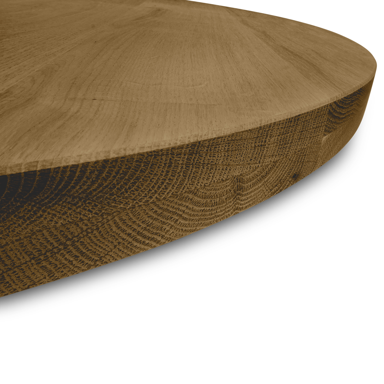 Rond eiken tafelblad op maat - 4 cm dik (2-laags) - rustiek Europees eikenhout - GEBORSTELD & GEROOKT - verlijmd kd 8-12% - diameter van 35 tot 130 cm
