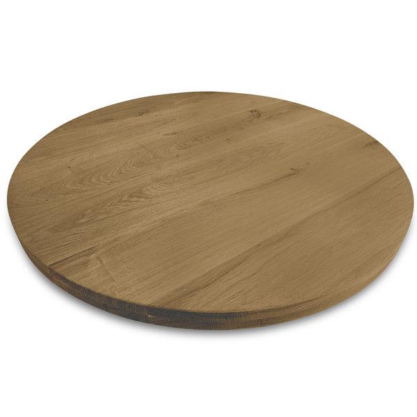 Rond eiken tafelblad op maat - 4 cm dik (2-laags) - rustiek eikenhout - GEBORSTELD & GEROOKT