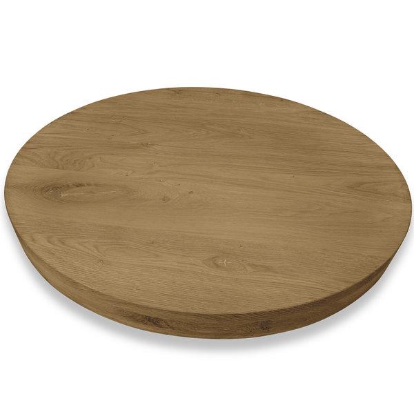 Rond eiken tafelblad op maat - 6 cm dik (3-laags) - rustiek eikenhout - GEBORSTELD & GEROOKT