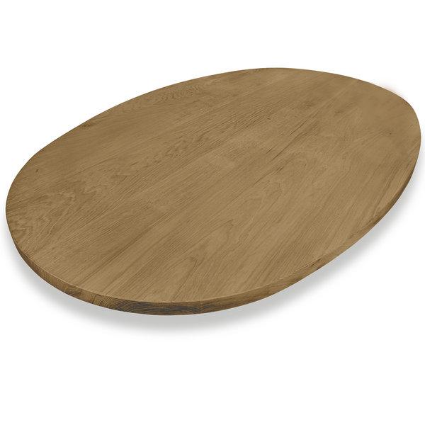 Ovaal eiken tafelblad - 3 cm dik (1-laag) - Foutvrij eikenhout - GEBORSTELD & GEROOKT